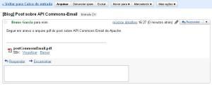Mensagem recebida no Gmail
