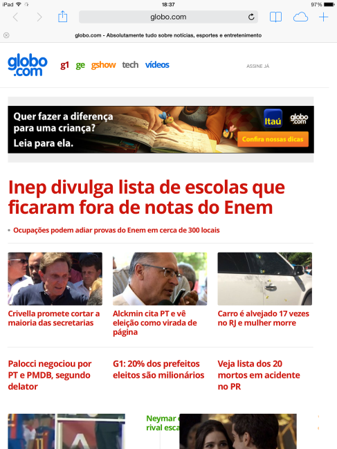 Figura 4 - Layout do site visualizado no tablet. (GLOBO, 2016)