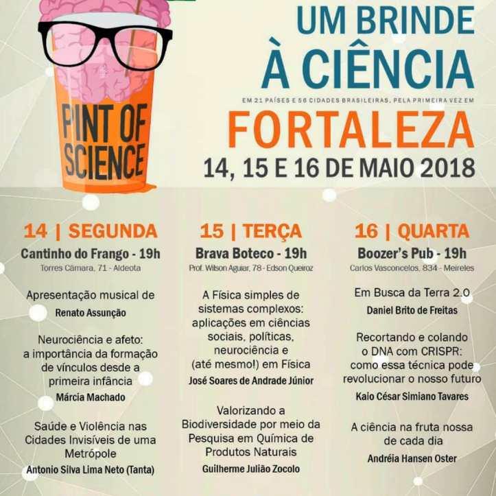 Programação do Pint of Science em Fortaleza - 2018.